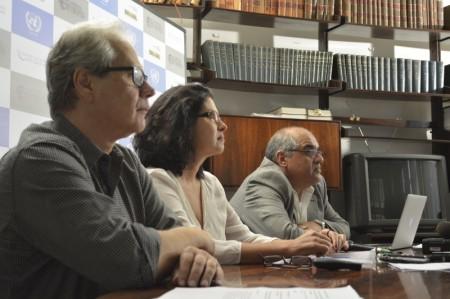 À direita, o chefe do Centro de Ciência do Sistema Terrestre do Instituto Nacional de Pesquisas Espaciais, José Marengo. Foto: UNIC Rio/Diogo Cysne.