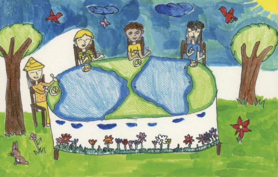 Desenho de Roxana Daniela Elvir Barrientos, 10 anos, de Honduras. Ela foi uma das 13 crianças vencedoras de um concurso de arte que envolveu milhões de crianças que recebem refeições escolares do PMA em todo o mundo. Foto: PMA.
