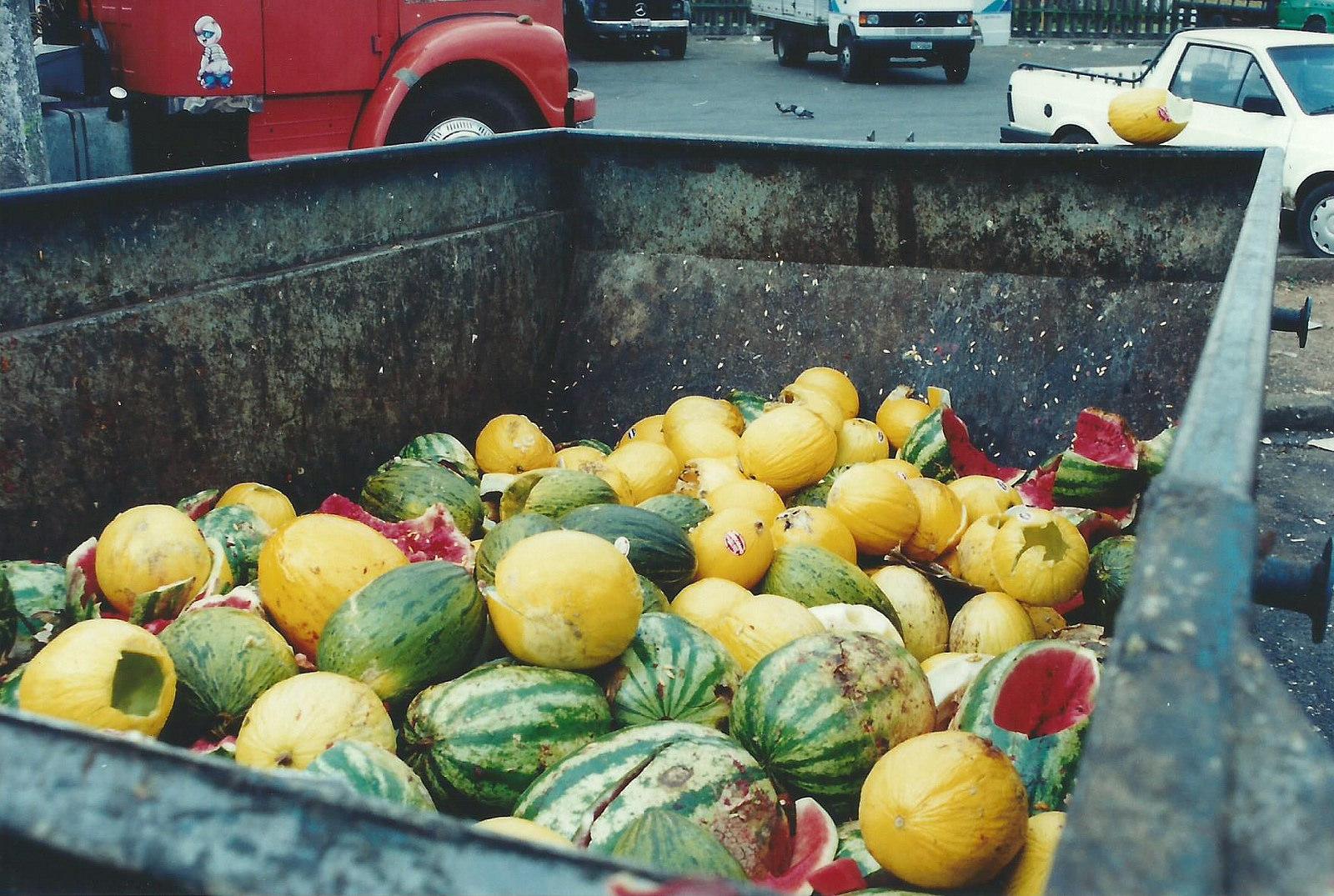 Frutas jogadas no lixo no Brasil. Foto: Flickr/Núcleo Editorial/Katia Mello (CC).