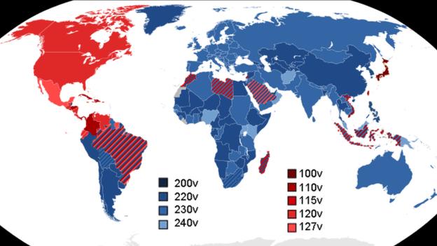 SOMNUSDE, WIKIPEDIAMapa mostra quais voltagens são usadas pelos países.